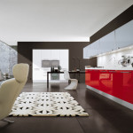 Ambiance cubiste et en perspective pour un espace très contemporain. L'idée du designer interieur paris : La pièce cuisine-salle à manger conçue comme un cube noir ouvert vers l'extérieur par une verrière. L'aménagement aux couleurs de contraste conçu comme des objets posés dans le cube.